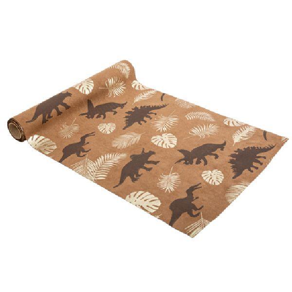 Chemin de table dinosaure suédine camel or et chocolat