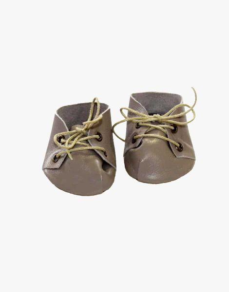 Chaussures à lacets en cuir Taupe - Minikane accessoire poupée minikane