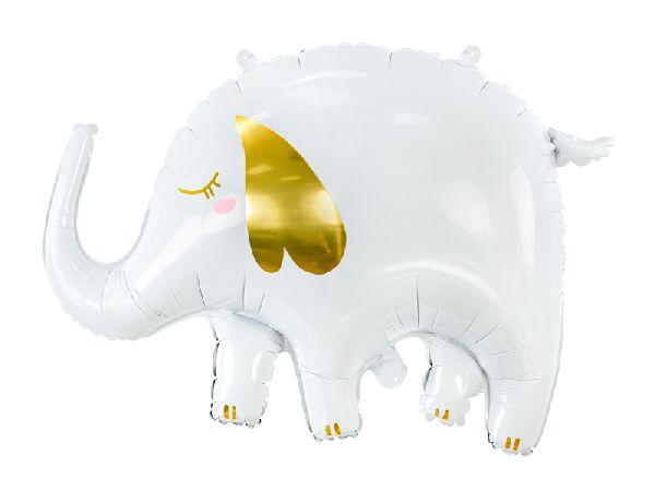 ballon éléphant blanc et doré