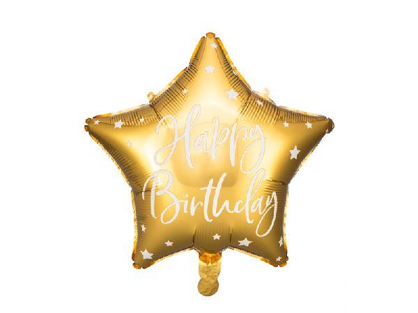 "Ballon ""happy birthday"" étoile doré"