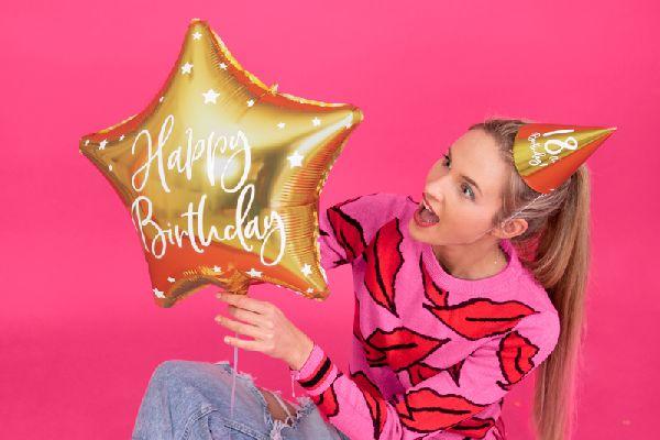 "Ballon ""happy birthday"" étoile dorée"