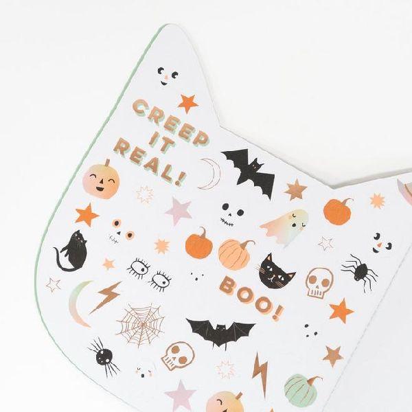 carnet de stickers chat halloween meri meri