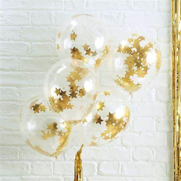 Ballon confettis étoiles dorées