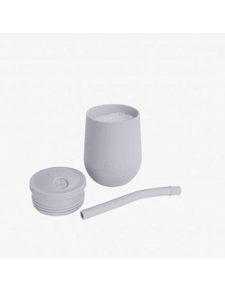 Gobelet Gris clair avec paille et couvercle en Silicone EZPZ