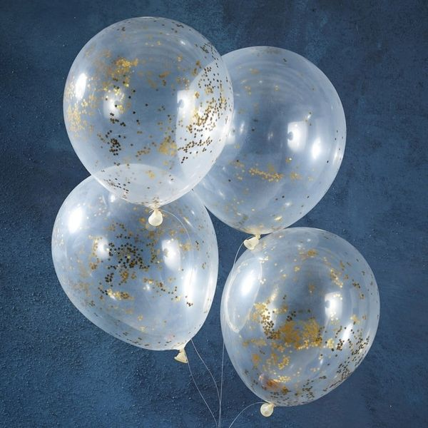 Ballons confettis étoile dorées