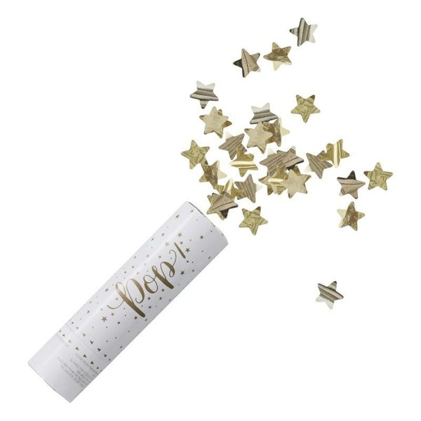 Canon à confettis étoile métalliques dorées