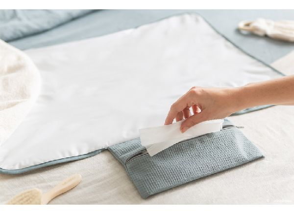 tapis à langer mozart stone blue nobodinoz