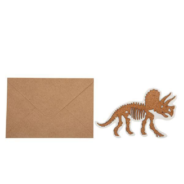 invitation dinosaure en liège + enveloppe