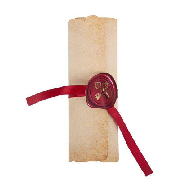 Invitation chevalier parchemin or et stickers