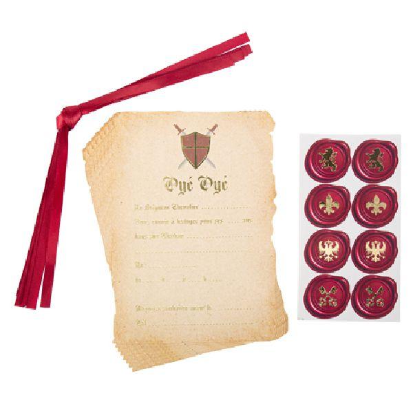 Invitation chevalier parchemin or+ stickers
