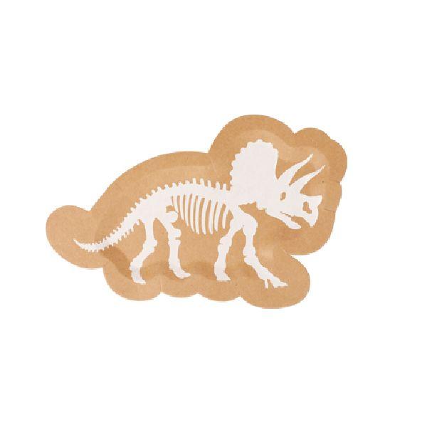 assiettes dinosaure kraft et blanc