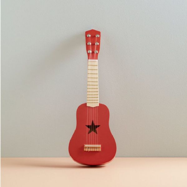 guitare rouge en bois